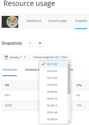 cPanel - CPU resource limit - Choose snapshot
