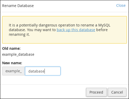cPanel - MySQL Databases - Rename Database dialog box