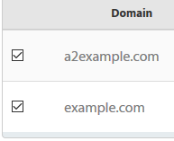 Domains are selected by checking the box at the left of each domain.