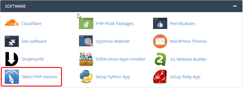 cPanel - Select PHP Version icon