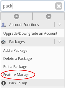 WebHost Manager - Feature Manager